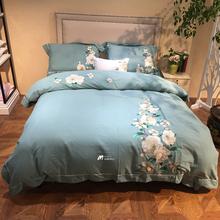 新中式秋冬加厚麻棉贡缎磨毛四件套原创绣花保暖被罩床单床上用品