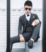 西服男时尚修身韩版青年三件套新款潮流帅气夜店发型师小西装套装