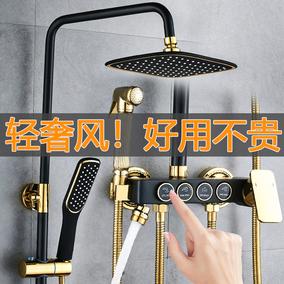 黑色淋浴花洒套装全铜挂墙式家用沐浴淋雨浴室增压喷头洗澡神器