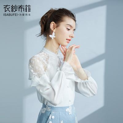 雪湖 白色蕾丝雪纺衬衫韩范长袖衬衣女复古港味风上衣设计感小衫