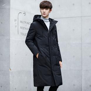 冬季韩版新款男士加长过膝连帽羽绒服男生加厚修身款男长外套