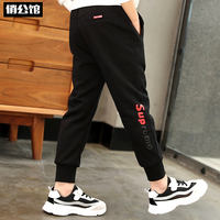 Boys pants spring and autumn models 2019 new wave of autumn and winter casual pants Korean version of the big plus velvet children's sweatpants