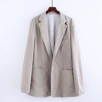 清爽纯色西装男士复古宽松大码西服男装秋季新款百搭薄款休闲外套