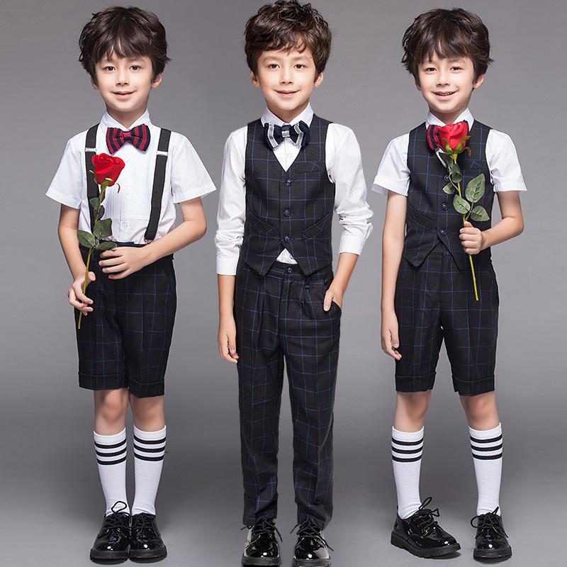 儿童礼服男花童演出服婚礼男童小孩套装走秀婚礼钢琴表演男孩英伦