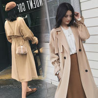 Khaki windbreaker female long section 2019 spring new Korean version of the chic over the knee double-breasted thin coat trend