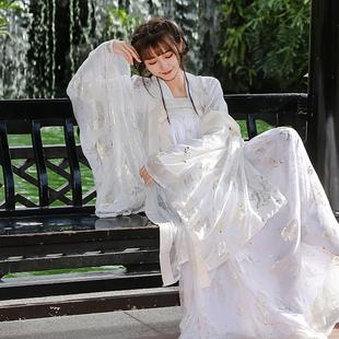 漢服女中國風廣袖流仙裙古裝服裝仙女清新淡雅學生日常襦裙大袖衫