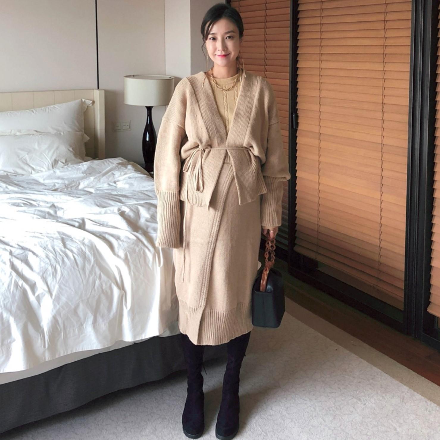官网验证ssongbyssong正品代购韩国直发 优雅针织开衫半身裙套装