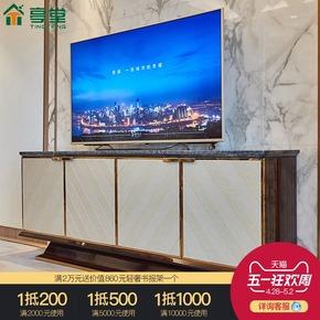 样板间简约客厅电视柜收纳柜别墅卧室不锈钢大理石影视柜矮柜定制