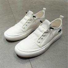 鳄鱼男鞋帆布鞋男潮鞋低帮白色板鞋子男士一脚蹬懒人夏季布鞋透气