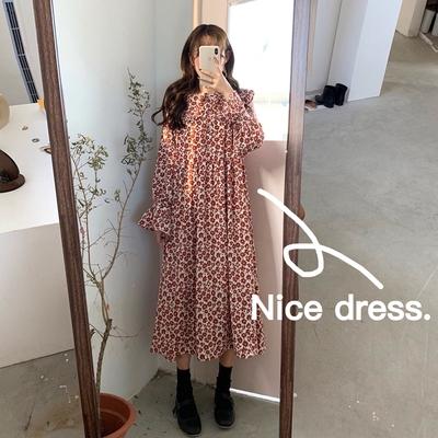 早春韩版女装复古chic碎花长袖连衣裙宽松显瘦气质娃娃领过膝长裙