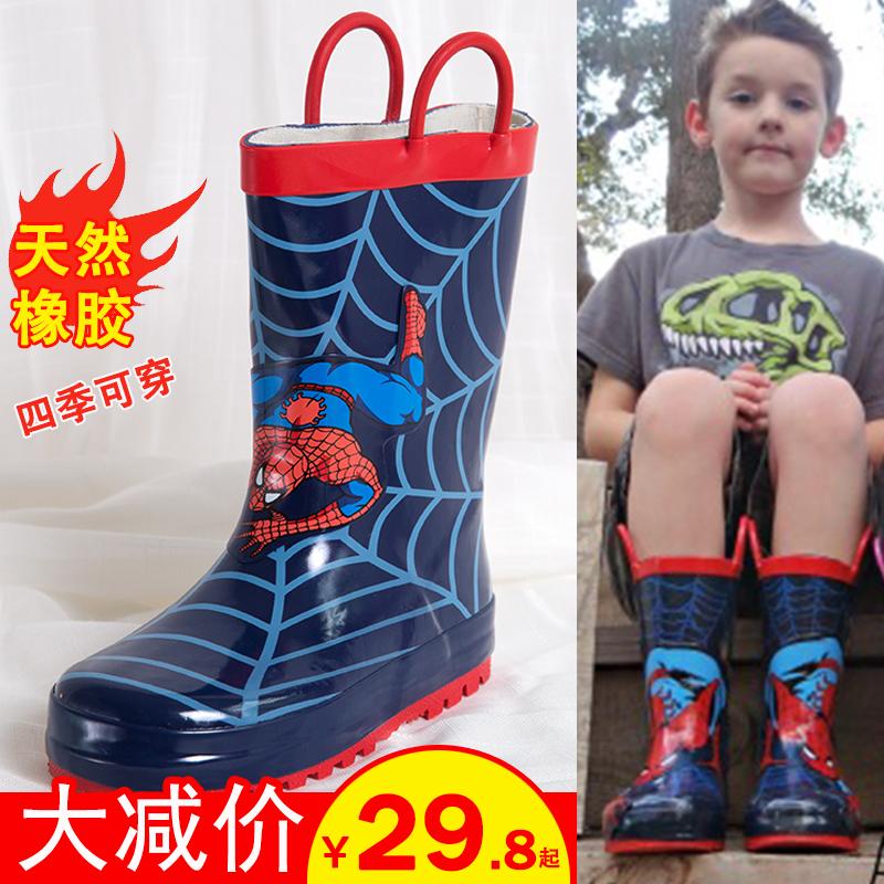 雨靴 加绒雨鞋 卡通保暖水鞋 蜘蛛侠秋冬儿童大童男童防滑防水橡胶鞋