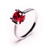 水晶戒指女纯银天然酒红石榴石戒指高端红宝石银戒指时尚潮人戒指