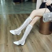 夏靴镂空网靴单靴系带低跟高筒白色靴子大码女靴小码女 33-43 GT