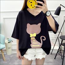 夏季加大码女装韩版显瘦印花短袖T恤女胖mm200斤宽松遮肚藏肉上衣