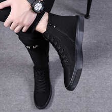 Men's Shoes Autumn High-Up Canvas Shoes Men's Fashion Gaobang Leisure Cloth Shoes Korean Version 100-Ladder Shoes Men's Fashion Shoes Men's Fashion Shoes