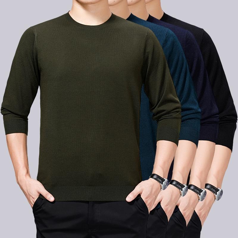 长袖 中老年人爸爸装 羊毛T恤打底衫 LILANG旗舰店冬季中年男士