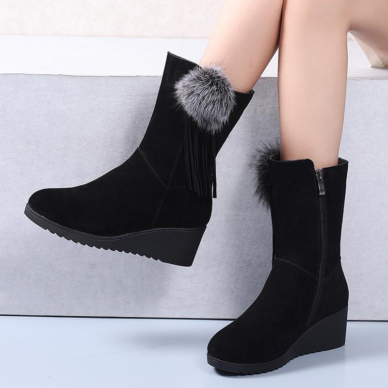 冬季户外雪地靴女防水防滑保暖磨砂牛皮兔毛加厚绒坡跟高跟女靴子