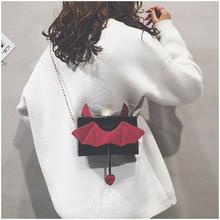 韩版 小魔鬼可爱小方包链条单肩斜挎包潮 搞怪小包包女2018新款