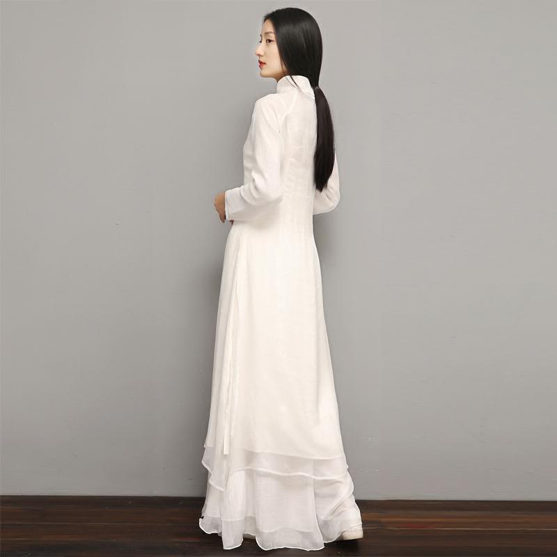 溪花白色中国风改良旗袍式禅意茶人服禅服女文艺民族风连衣裙套装