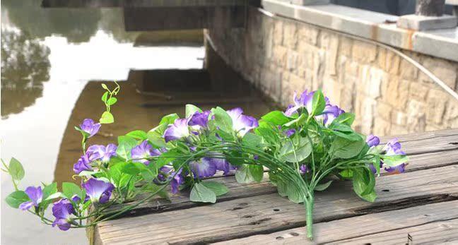 仿真牵牛花挂壁 高仿真绿藤叶 仿真花 仿真植物墙景用花