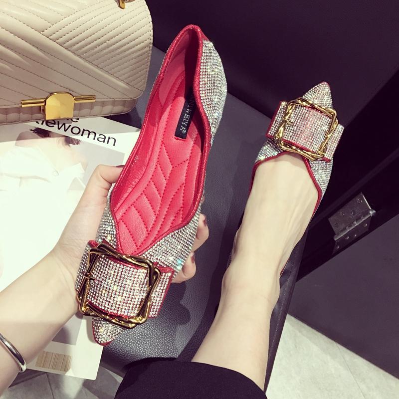 金属尖头女单鞋