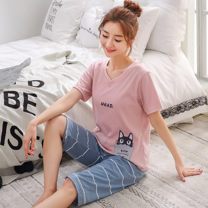 睡衣女士春夏季纯棉短袖七分短裤韩版可爱卡通大码薄款家居服秋天