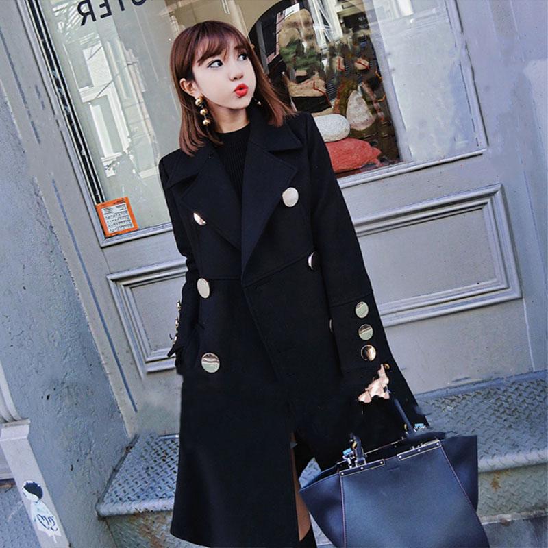 2019春季新款韩版女装修身显瘦黑色呢子大衣收腰中长款毛呢外套女