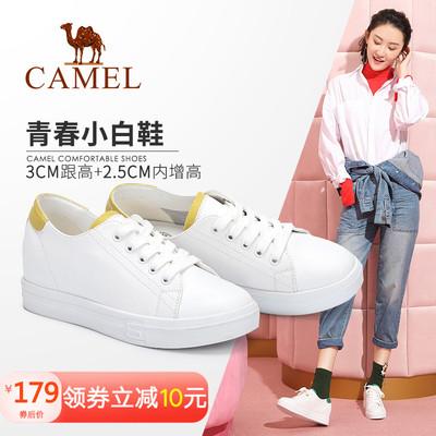 骆驼女鞋2018春季新款韩版社会时尚单鞋休闲平底流行系带女小白鞋