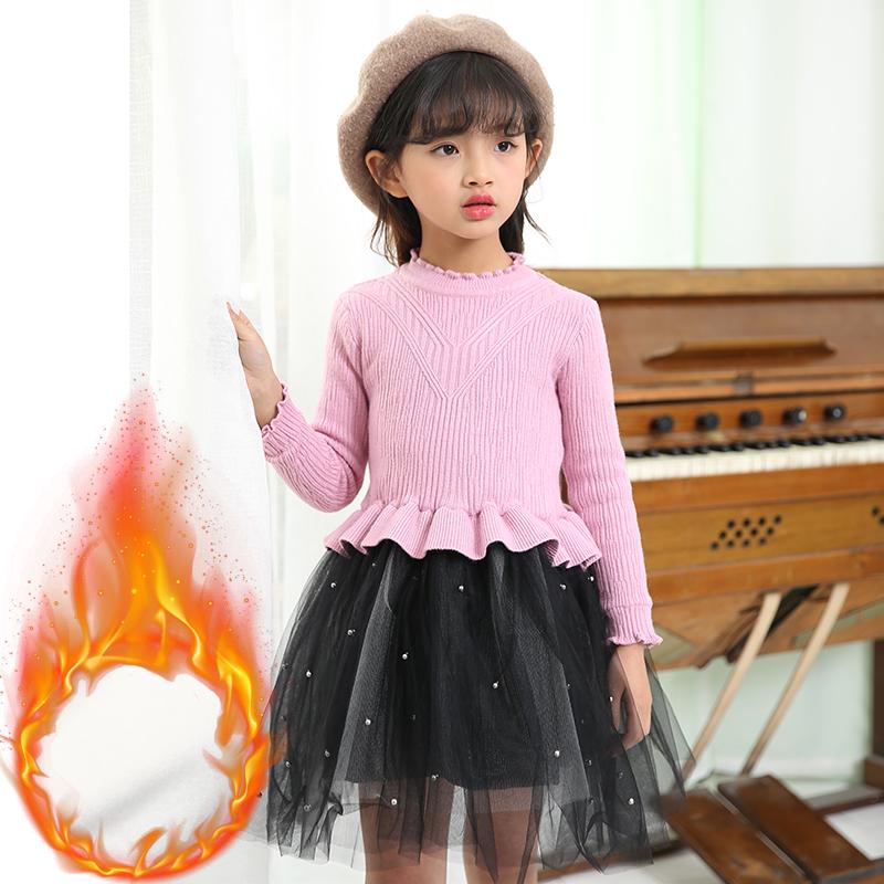 女童毛衣裙假件套装裙子2018春装中小童连衣裙韩针织两件套外套潮