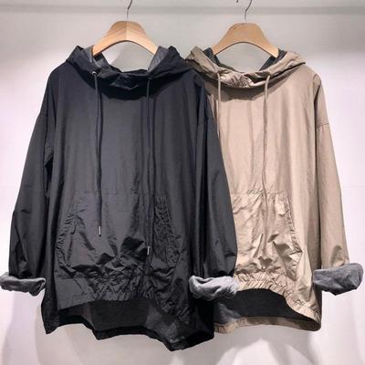 韩国代购东大门春季韩版上衣女装纯色宽松连帽口袋简约长袖卫衣