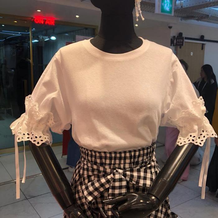 2019韩国夏季直邮代购东大门新款上衣女装直筒圆领短袖拼接T恤