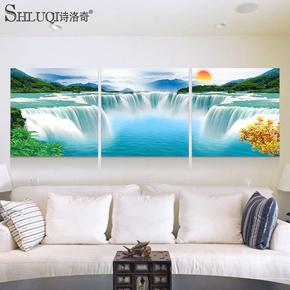 客厅沙发背景墙装饰画现代简约无框三联挂画风景水晶壁画山水瀑布