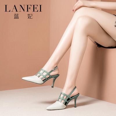 蓝妃真皮夏天凉鞋女2018新款尖头高跟鞋女百搭撞色细跟包头女鞋子