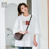 纯棉cec短袖t恤女学生森系体恤2019夏季新款中袖宽松白色韩版上衣