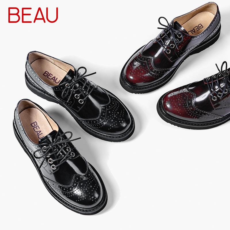 BEAU2018新款牛津鞋女平底漆皮英伦风单鞋圆头系带雕花小皮鞋女