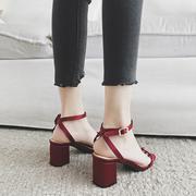 一字带凉鞋女仙女风学生2019新款夏时尚ins潮中跟粗跟红色高跟鞋