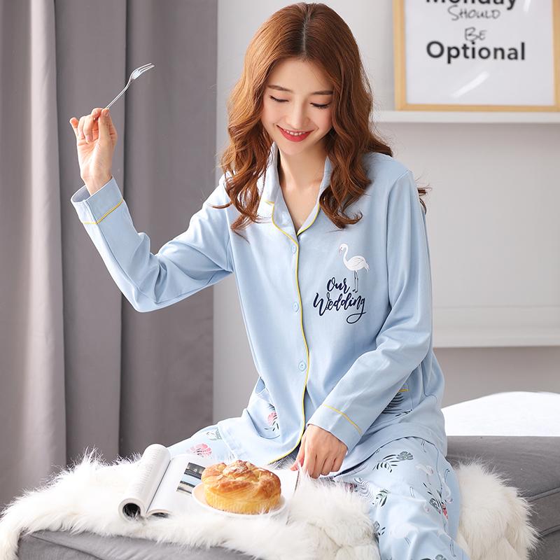 睡衣女春秋季长袖纯棉套装秋冬休闲韩版甜美可爱夏季可外穿家居服