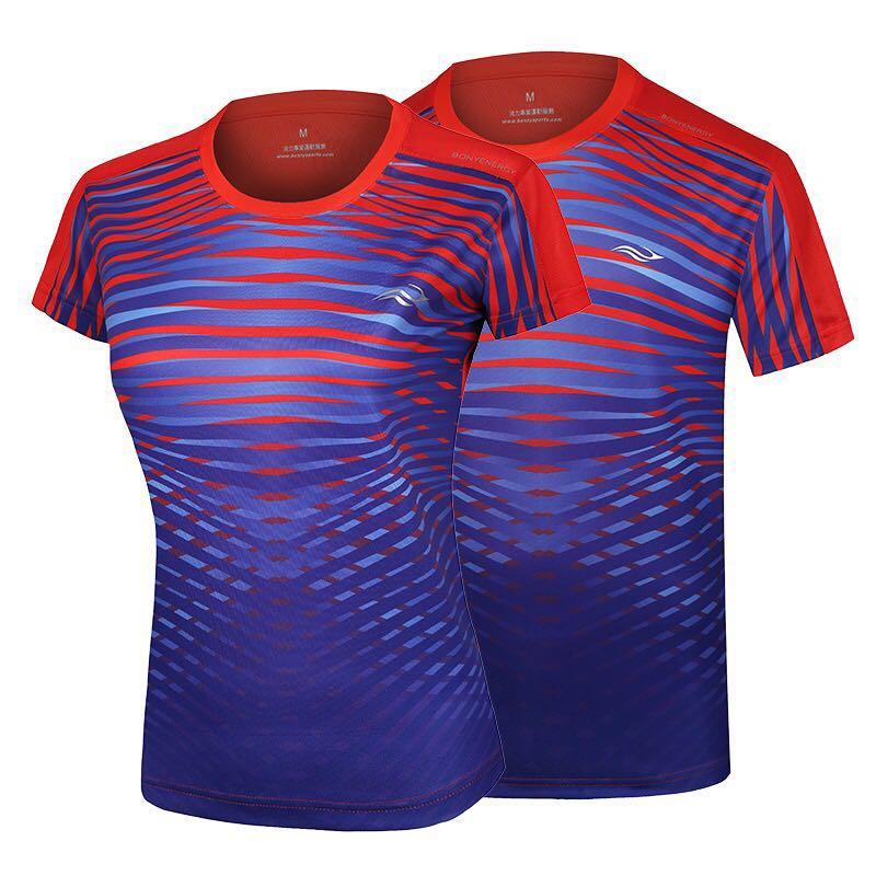 Bonny波力运动圆领T恤羽毛球运动服印吸湿排汗男女运动短袖上衣