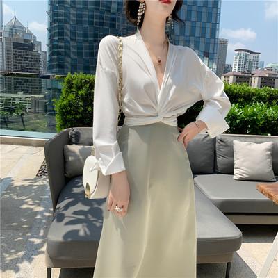 韩版夏装2019新款套装长袖下摆打结设计感雪纺上衣衬衫女+半身裙