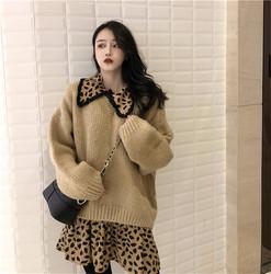 韩版复古流苏娃娃领豹纹收腰连衣裙+圆领套头毛衣女秋冬2018新款