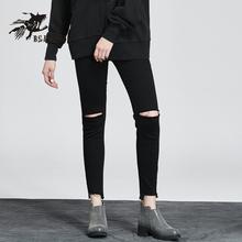 韩版 女学生 显瘦破洞不规则紧身小脚裤 女2018新款 小魔鱼黑色牛仔裤
