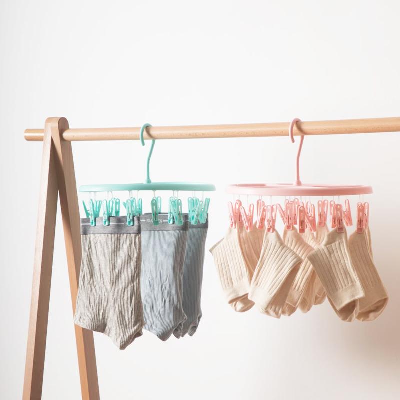 茶花晾袜架晾衣架塑料防风袜子夹内衣裤架晾晒架塑料夹衣架多夹子