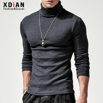 續點高領打底衫男秋冬款長袖t恤緊身加厚保暖上衣體恤修身款秋衣