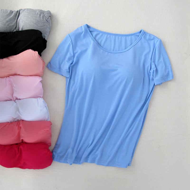 夏季新款带胸垫短袖T恤 免文胸莫代尔女士瑜伽运动打底衫