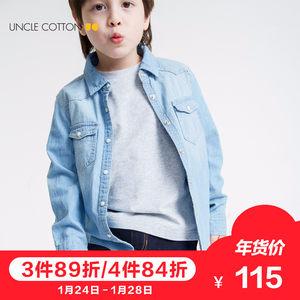 X棉叔叔2018春装新款儿童牛仔衬衫女纯棉衬衣女童男童长袖衬衫