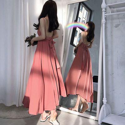 超长裙到脚踝夏超长款连衣裙学生韩版露背雪纺大摆及踝拖地长裙子