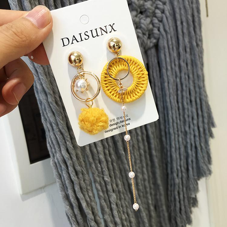 韩国秋冬新款不对称毛线耳环个性长款式小珍珠潮流时尚耳环耳饰女