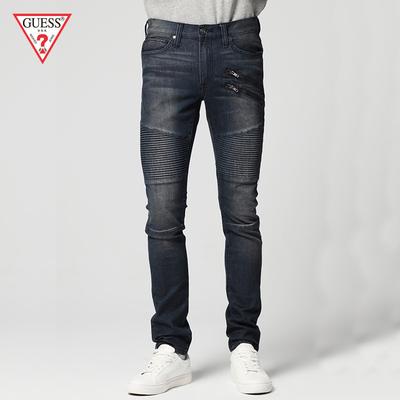 GUESS 2018男士磨白褶皱拉链机车牛仔裤-X81144R2NQ0