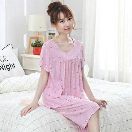 夏季睡衣女夏天短袖妈妈薄款人造棉两件套装棉绸中年可外穿家居服
