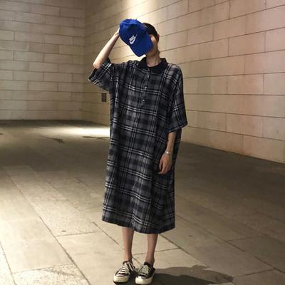2018夏季韩版新款宽松复古中长款短袖chic连衣裙女长裙学生裙子潮